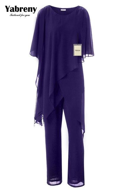 Yabreny Новое поступление аварийный шифоновый костюм из двух частей для матери невесты брюки с асимметричным подолом MT0017013