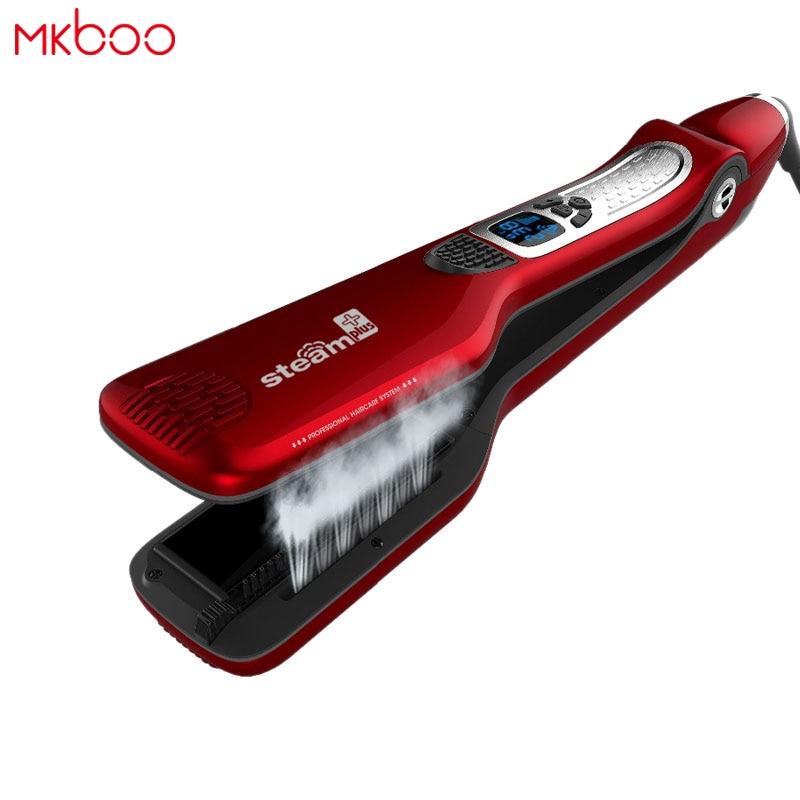 MKBOO LCD steampod plancha de pelo hierro plano del pelo plancha de pelo profesional que endereza el hierro plancha de vapor del pelo