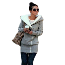 April sales promotion/2012 hot sale Korea Women Hoodies Coat Warm Zip Up Outerwear Gray Color