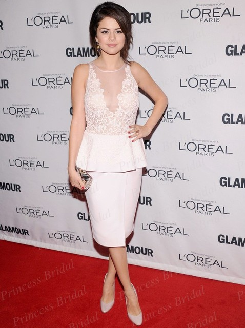 Opacidad Celebrity Dress Selena Gomez Cream Media Pantorrilla Vestido de Fiesta en 2012 Glamour Women of the Year Awards Red Carpet CE1639