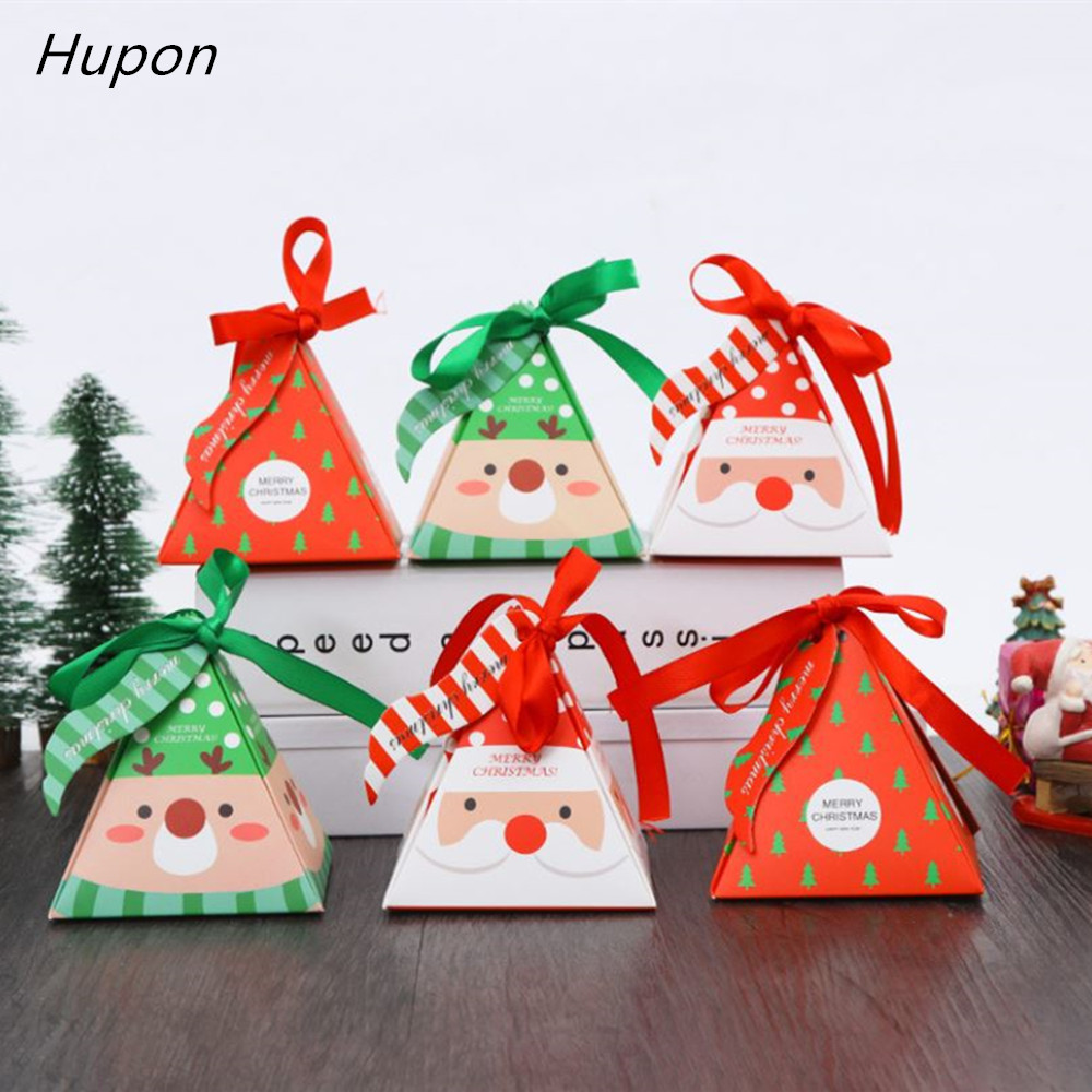50pcs Merry Christmas Candy Box Paper Gift Bags Christmas Tree Gift Box With Bells Christmas Party Decorations Supplies Navidad