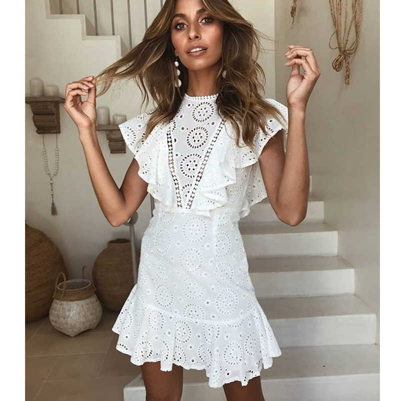 White Cotton Bohemian Summer Beach Dress For Women Elegant Mini Ruffles Dresses  Vintage Backless Female Party af8a2f4d812a