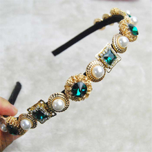 2016 Women Luxury Baroque Style Rhinestone Crystal Headband Pearl Hair Jewelry Wedding Hairband Bridal Accessories Gift