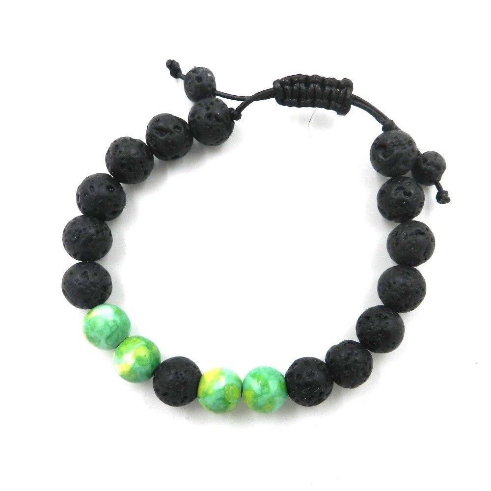 8mm Beads Natural Bracelets Lava 7 Chakra Healing Balance Bracelet for Men Rhinestone Reiki Prayer Stones charm bangles
