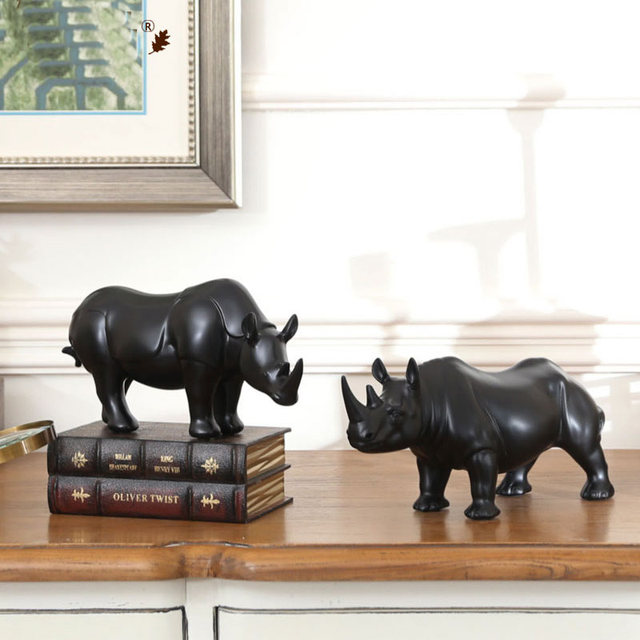 Modern simplicity African African Rhinoceros Statue Personality