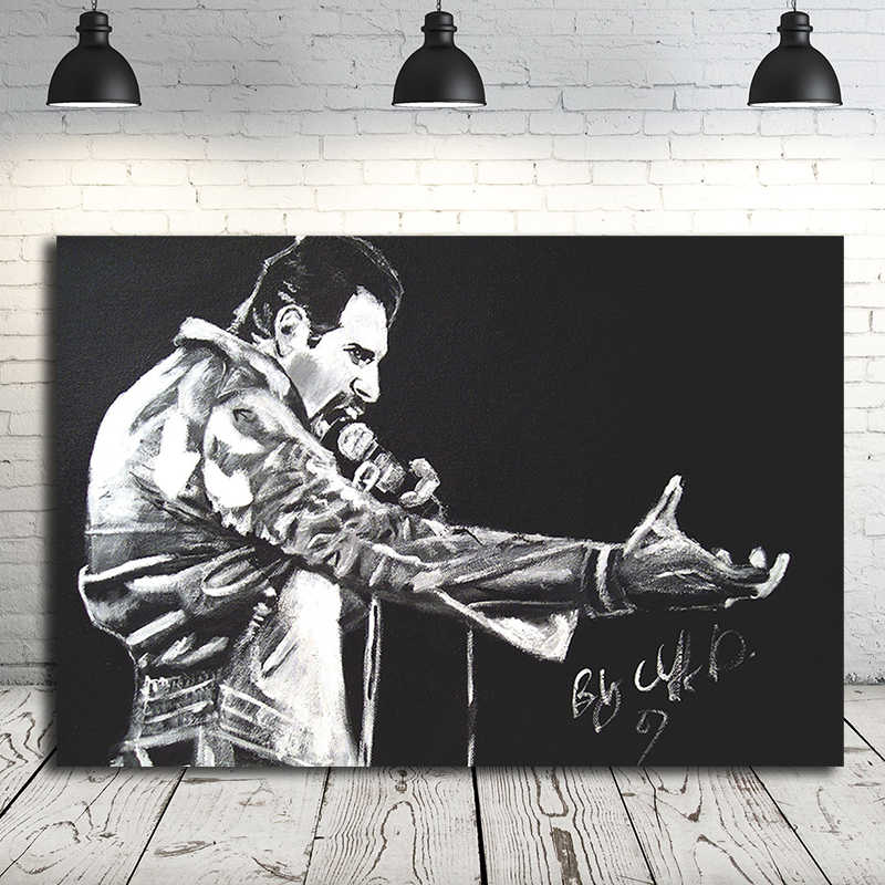 queen band black white freddie mercury canvas posters prints wall art painting decorative picture bedroom home