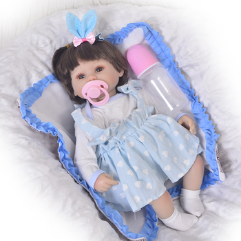 "Reborn dolls for girls gift 18""43cm Bebes reborn silicone baby dolls real baby doll alive soft cotton body with pacifier bottle"