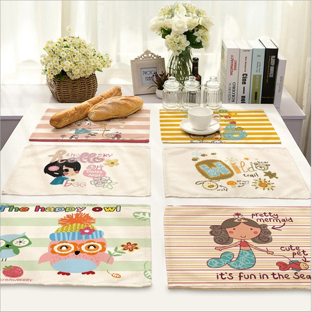 Home Decor Cartoon Mermaid Placemat Linen Fabric Table Mat Dishware Coasters For Kitchen Accessories Wedding Party