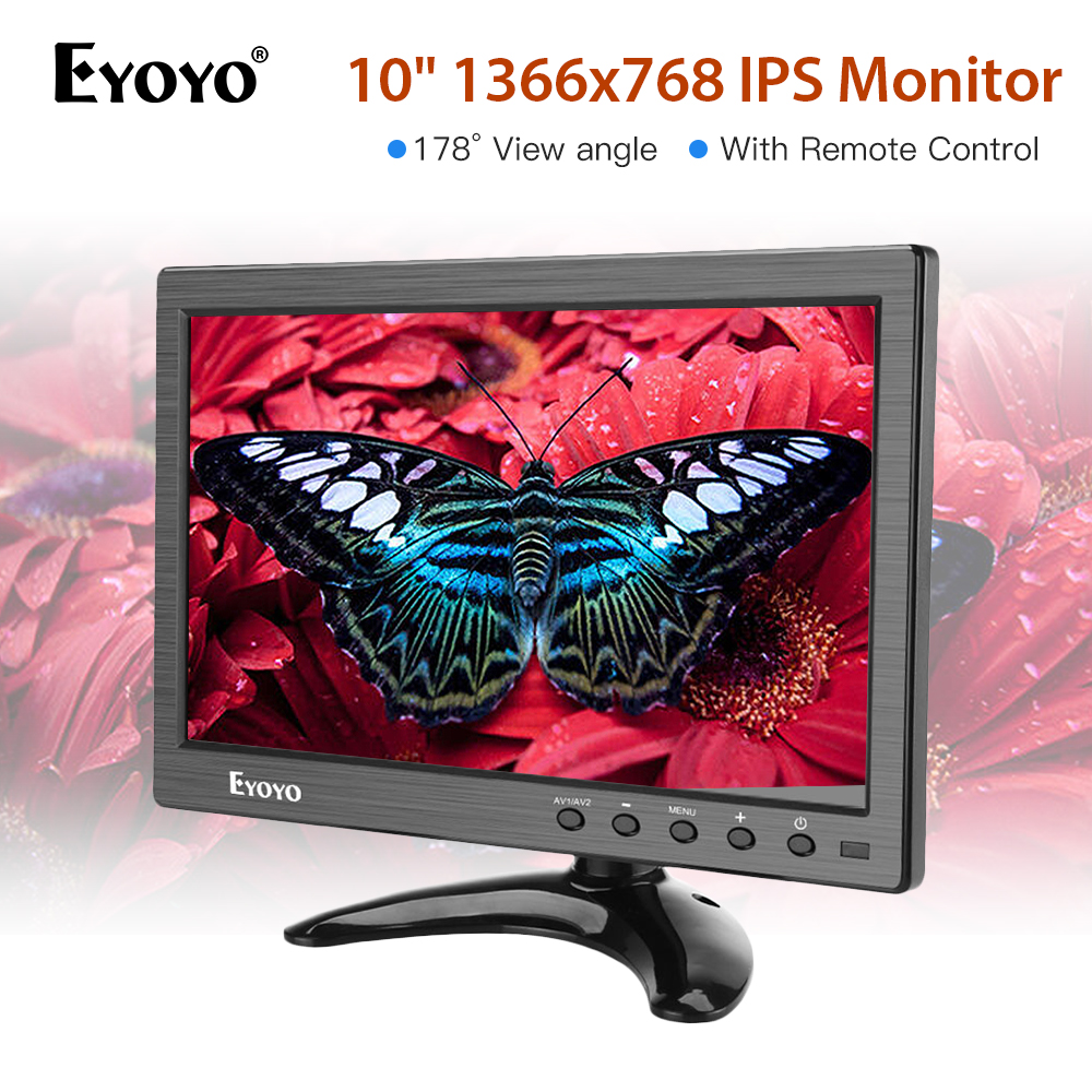 Eyoyo 10 polegada 1366x768 IPS Tela De Lcd HDMI TV Portátil Do Monitor HDMI/VGA/AV/ entrada USB & monitor de computador