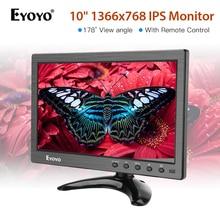 Eyoyo 10 inch 1366x768 IPS LCD Screen Display HDMI TV Monitor Portable HDMI/VGA/AV/USB Input & computer display eyoyo 10 ips lcd monitor mini computer display led screen 2 channel video input security monitor with speaker vga hdmi