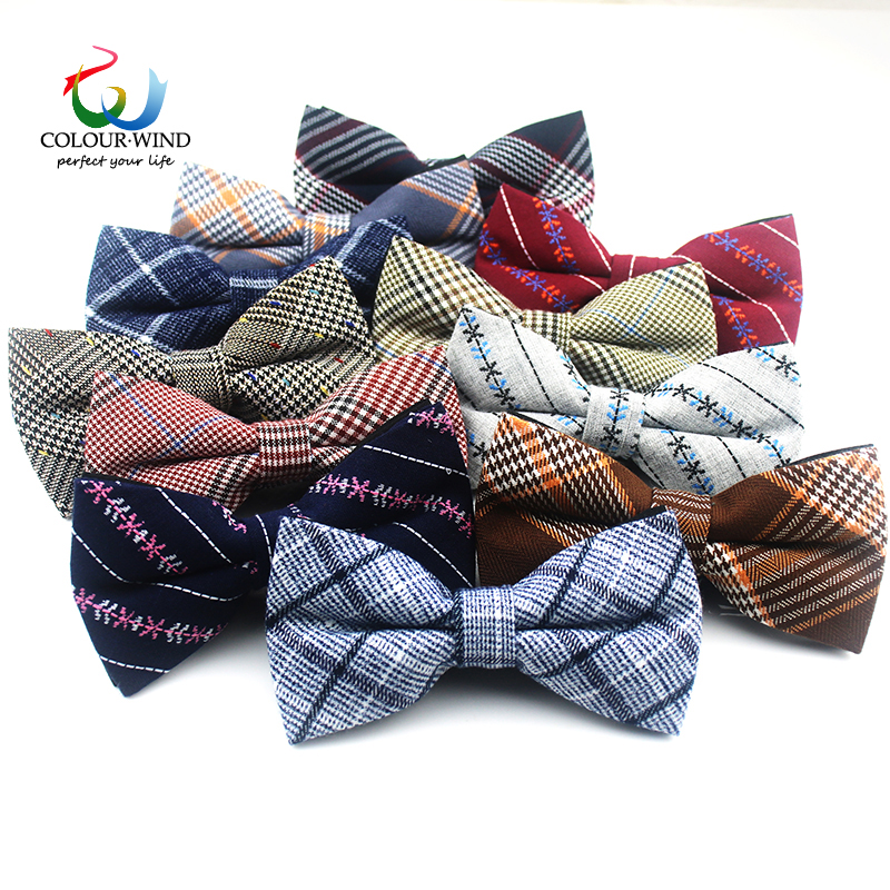 New Fashion England Style Mens Plaid Bow Ties 12*6CM Striped Top Cotton Soft Butterfly Business Formal Suit Dress Accessories plaid