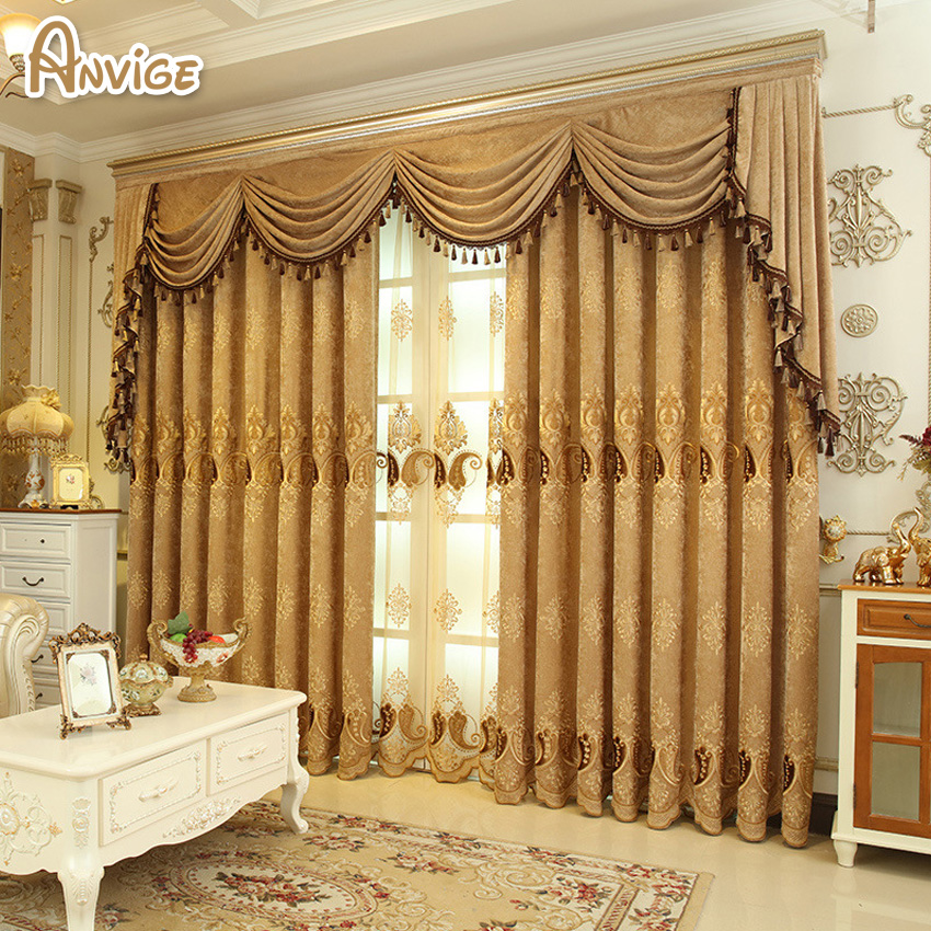 new arrival chenille thick cloth luxury curtain with valance european blackout curtains for living room