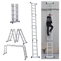 Free delivery 4x4 120cm Multifunctional Folding Ladder Aluminum Telescopic Ladder For Industrial Or Household Domestic Ladders