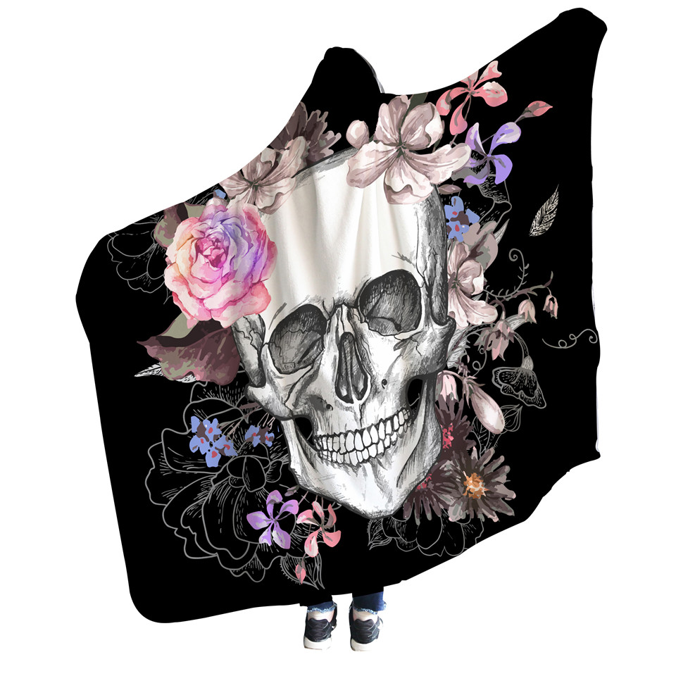 花朵线条骷髅