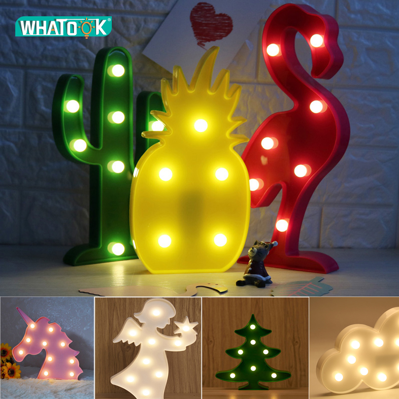 Cute LED Flamingo Unicorn Night Lights Marquee Sign Pineapple Cactus Star Luminary Wall Lamp Cartoon Animal Decor Lighting Gifts