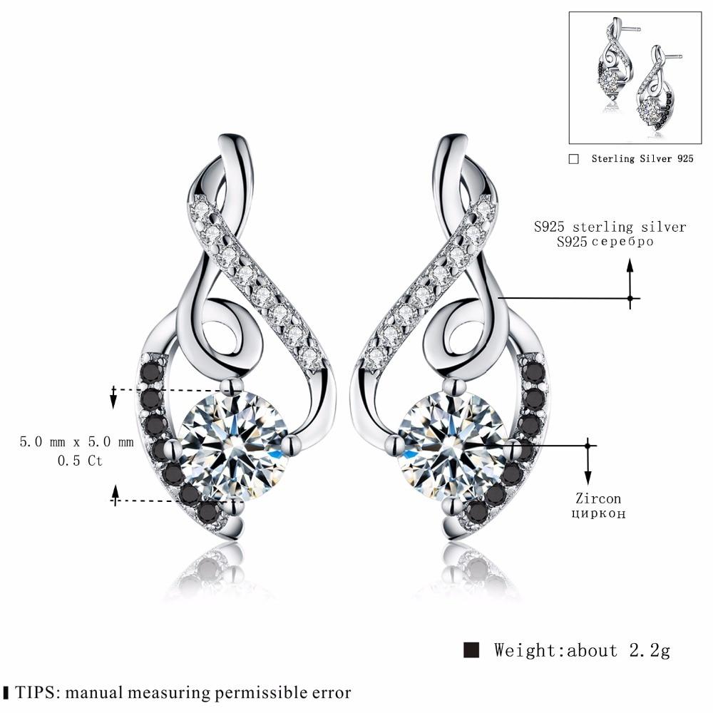 [black Awn] Genuine 925 Sterling Silver Female Earring Fine Jewelry Vintage Water-drop Wedding Stud Earrings For Women T006 #5