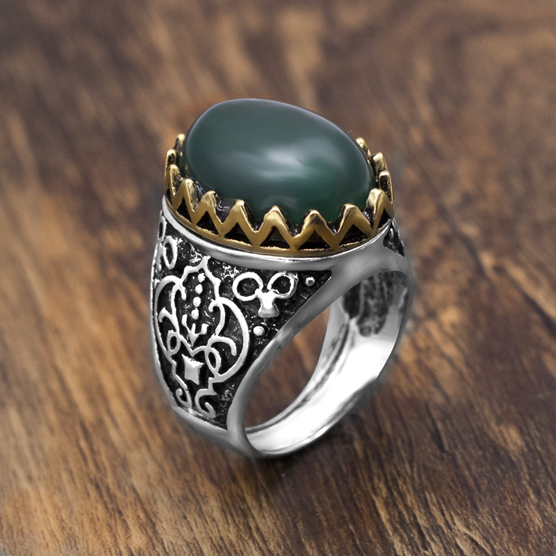 Green Stone Rings Fine-Jewelry Indian Women Boho Antique Vintage Silver/gold Ladies