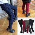 Primavera y otoño del diseño niñas nuevo estilo children'scotton leggings pantalones de punto de algodón de lana leggings pantalones 2-7años de edad
