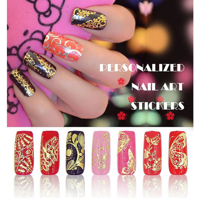 3d Gold Nail Stickers 108pcs sheet Metallic Nail Art Decoration Tools Flower  Designs Fashion Manicure 63ff9fbf0d8e