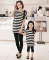 Family korean parent-child striped clothes family cotton T-shirts for mother and daughter, wholesale 2pieces/lot MS06