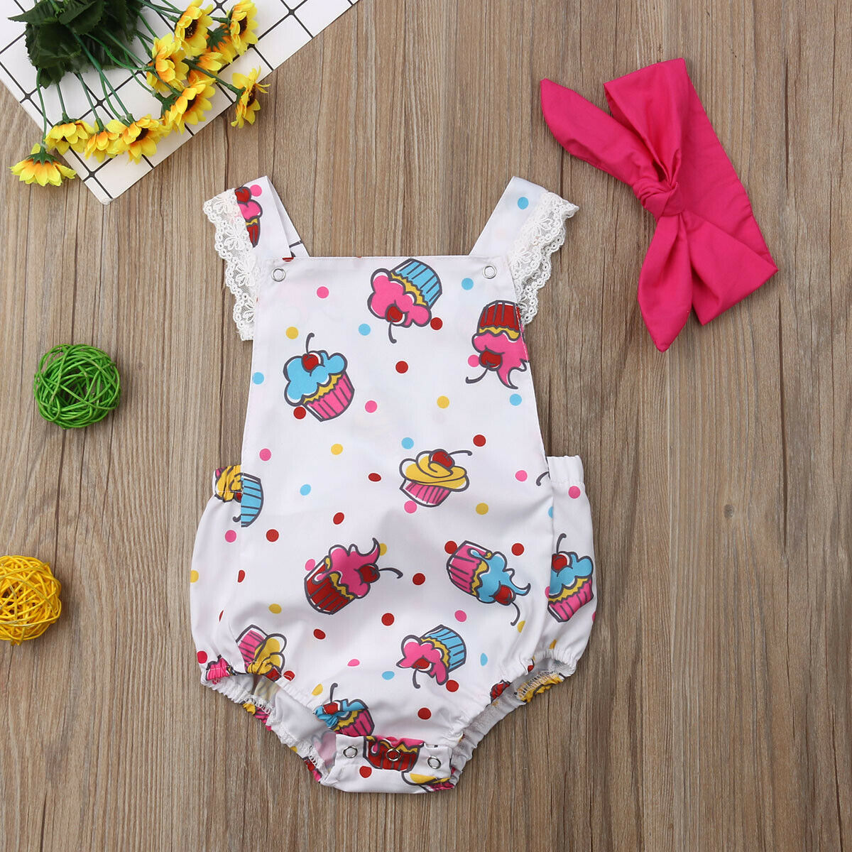 Baby Girl Clothes Ice Cream Print Sleeveless Bodysuit Headband 2pcs Outfit Clothes SunsuitBaby Girl Clothes Ice Cream Print Sleeveless Bodysuit Headband 2pcs Outfit Clothes Sunsuit