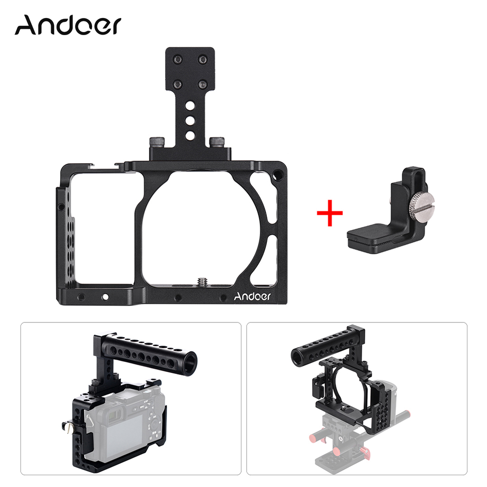Andoer Video Camera Cage Top Handle Kit Film Making System with Cable Clamp for Sony A6000