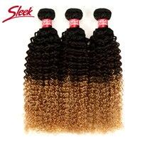 Sleek Brazilian Hair Weave Bundles Kinky Curly Hair 3 Bundle Deals Non Remy Human Hair Extensions Color T1B/4/27 Free Shipping