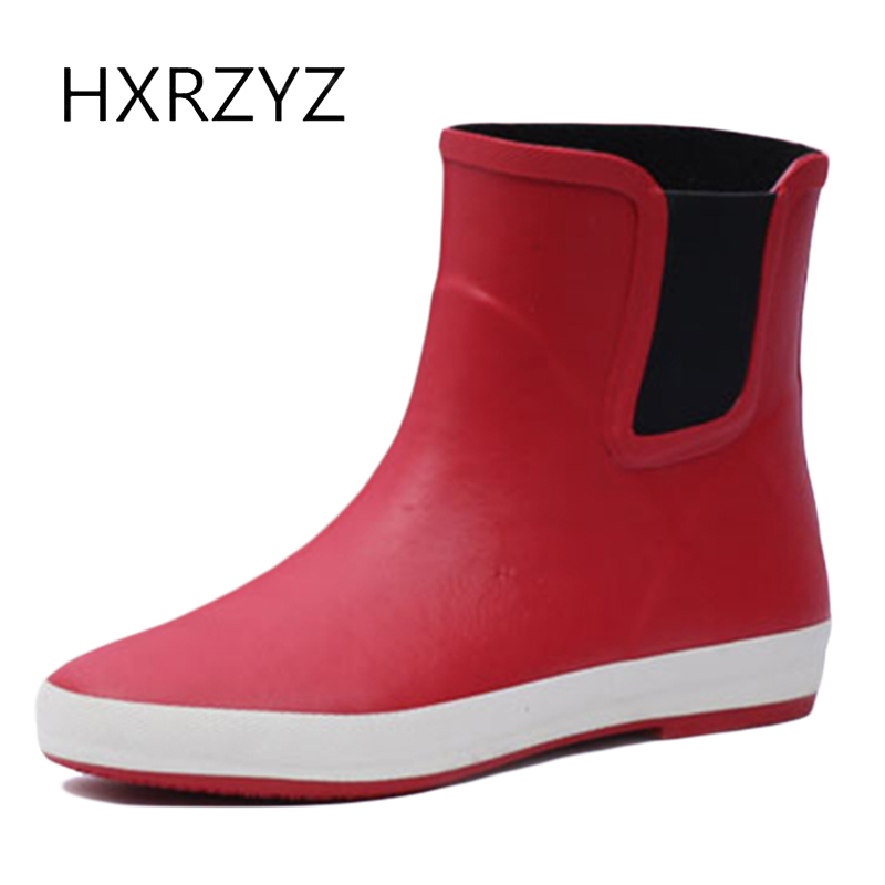 HXRZYZ women rain boots female ankle rubber boots spring/autumn new fashion ladies slip-resistant waterproof comfort women shoes