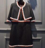 Элегантный комплект из 2 предметов женщины, Твид зимняя куртка + плюс комплект с платьем, укороченный топ + черное платье костюм, офис комплек