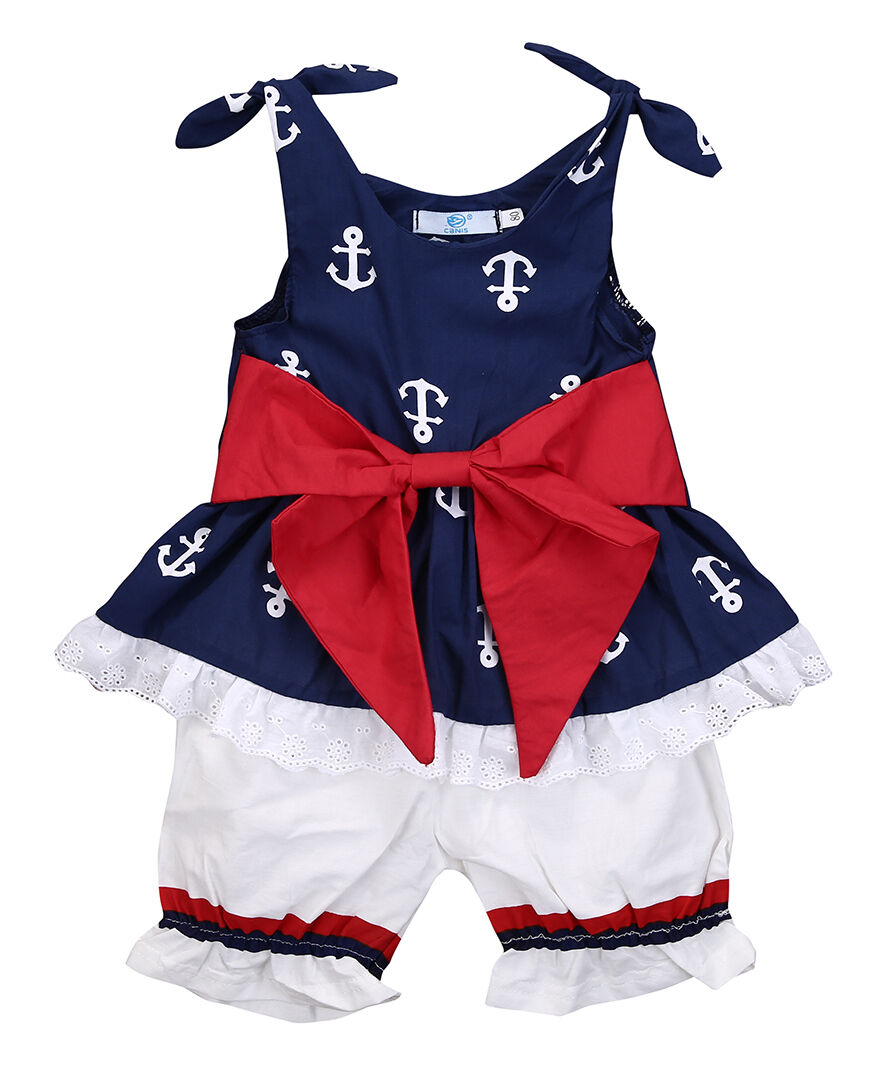 2a16522dc5e3a Infant Baby Girl Clothes Anchor Bow Tops T-shirt+Shorts Pants 2pcs Outfits  Baby Set Clothes 0-24 months ~ Hot Sale June 2019