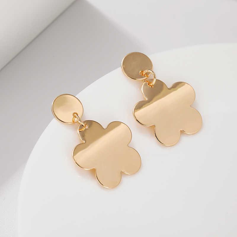 Korean Trendy Round Earrings Cute Metal Five-leaf Flower Dangle Drop Earrings For Women Earings Fashion Jewelry 2019 Oorbellen