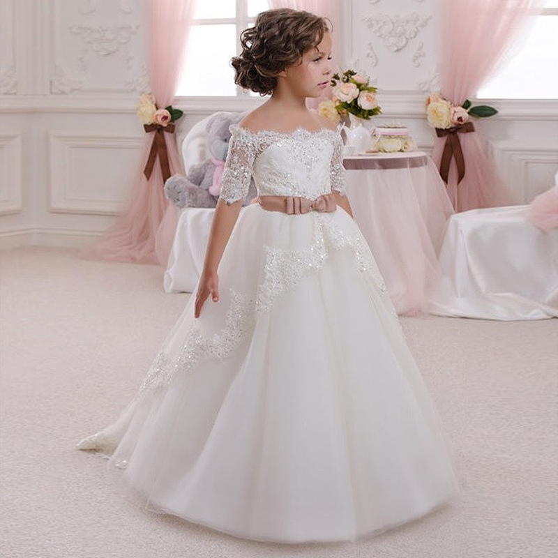 Elegant Performance Show Party Girl Dress Kids Communion Lace Up Off Shoulder Ribbon Sequins Appliques Ceremony