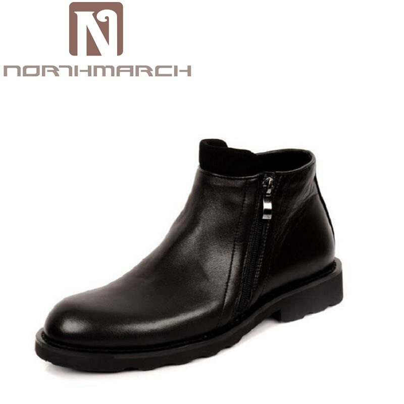 NORTHMARCH Men Winter Plush Boots Casual Genuine Leather Business Man Shoes Flat Heel Ankle Boots For Male Comfortable Boots men autumn winter genuine leather italian black luxury fashion casual plush ankle boots mens shoes male for wedding business 09