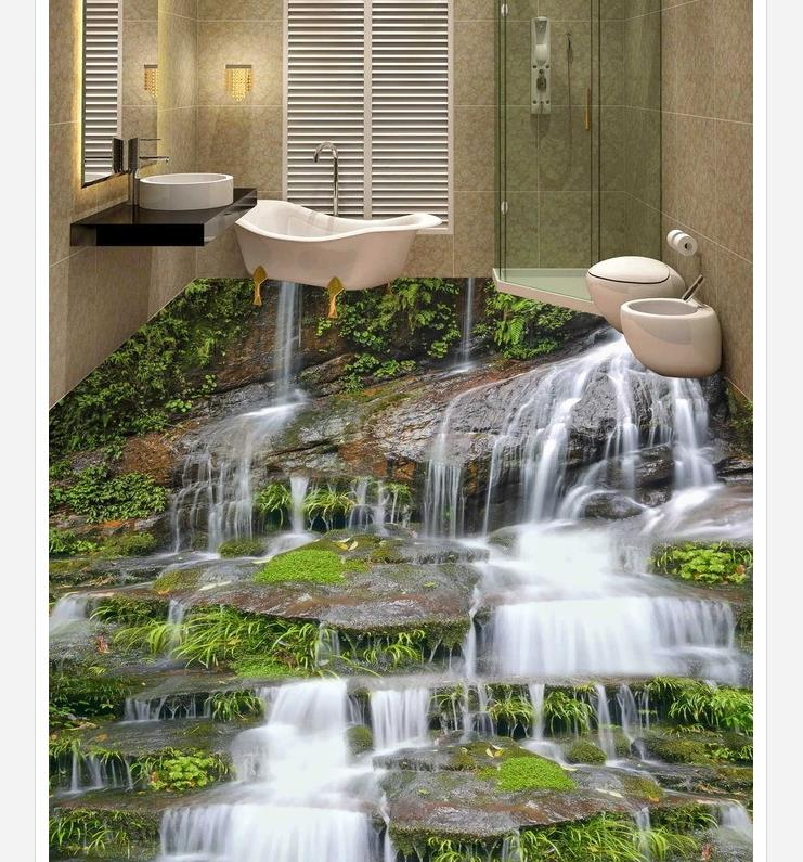 Painting Supplies & Wall Treatments Home Improvement 3d Wallpaper Waterproof Landscape 3d Flooring 3d Wallpaper Pvc Waterproof Wallpaper For Bathroom Wall In Pain
