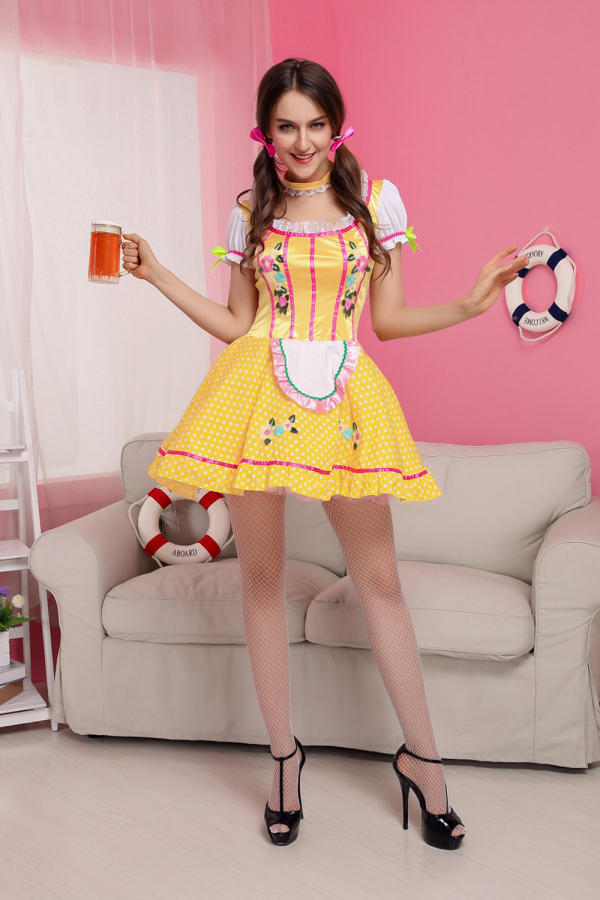 Sexy ladies underwear lovely Female Maid Beer girl classical mini sex skirt Yellow ladies suit lolita maid outfit costume