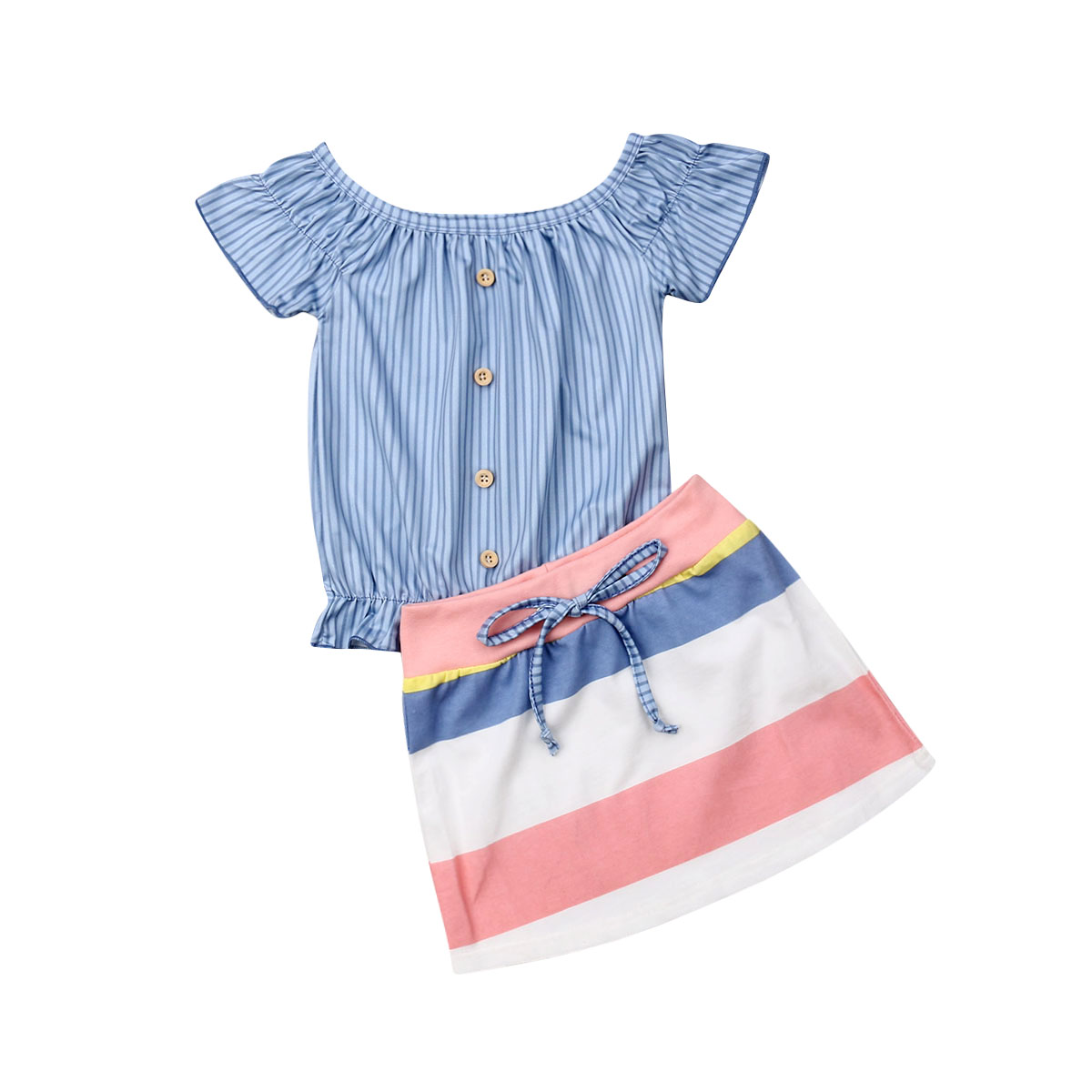 UK Newborn Infant Baby Girl Kid Button Top Color Stripe Dress Skirt Clothes 2-7Y