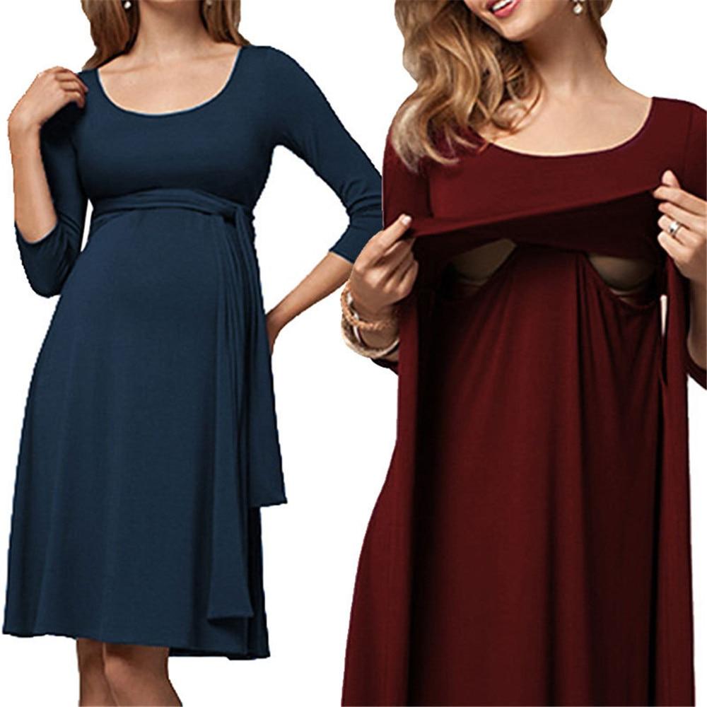 Knee-Length Cotton Solid Nursing Dress For Pregnant Woman Boat Neck Maternity Women Dress Clothing Breastfeeding Nursing Dress mommas tangjiahe fashion nursing clothing nursing one piece dress 100