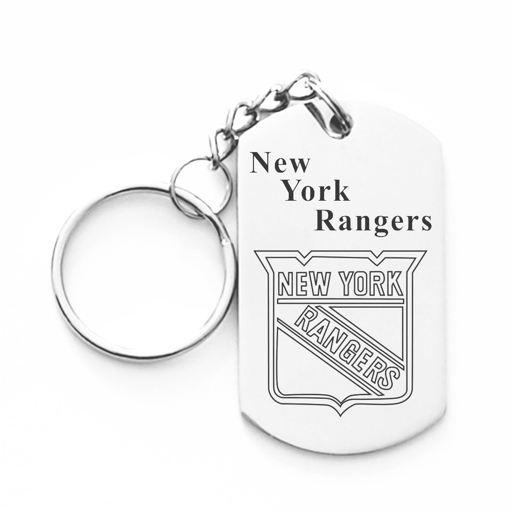 NHL New York Islanders LOGO Dog Charms Tag Keychain Stainless Steel