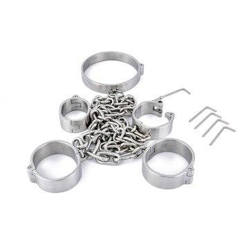 3pcs/Set Bondage Set Neck Collar Handcuffs For Sex Bondage Ankle Cuffs Bdsm Kit Erotic Bdsm Toys Adult Games For Women Men