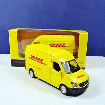 цена на 1/36 scale diecast car model toys commerical vehicle yellow model for Express DHL car van model collection gifts