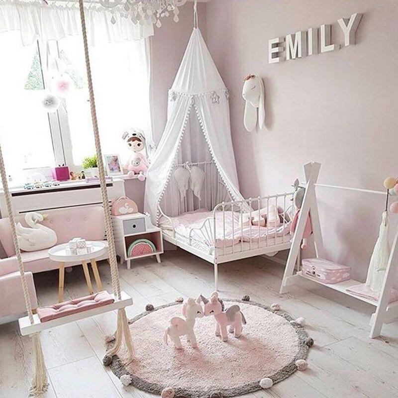Bébé jouer jeu tapis rond coton tapis tapis tapis de sol ramper infantile maison antidérapant Pad pour chambre d'enfants décoration Photo