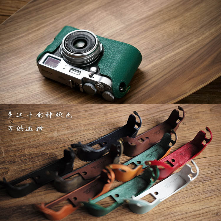 все цены на Mr.Stone Genuine Leather Camera case Video Half Bag For Fuji Fujifilm X100T Retro Vintage Bottom Case онлайн