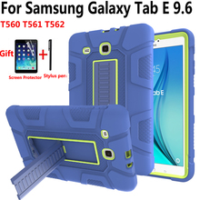SM-T560 Case for Samsung Galaxy Tab E 9.6 T560 T561 T562 Cover Funda Heavy Duty Shockproof Silicone Stand Skin Shell+Film+Pen shockproof kids safe case for samsung galaxy tab e 9 6 t560 sm t560 t561 cover funda tablet armor heavy duty silicone hard shell