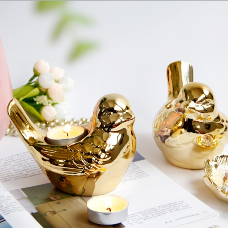 Electroplated Bird Candlestick Gold Plated Ceramic Candle Holder Cup Nordic Luxury Home Decoration Accessories