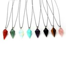 2016 New Natural Gem Hexagon Pyramid Reiki Pendulum Stone Choker Pendant Necklace Charms Healing Chakra Amulet Jewelry Gift цены онлайн