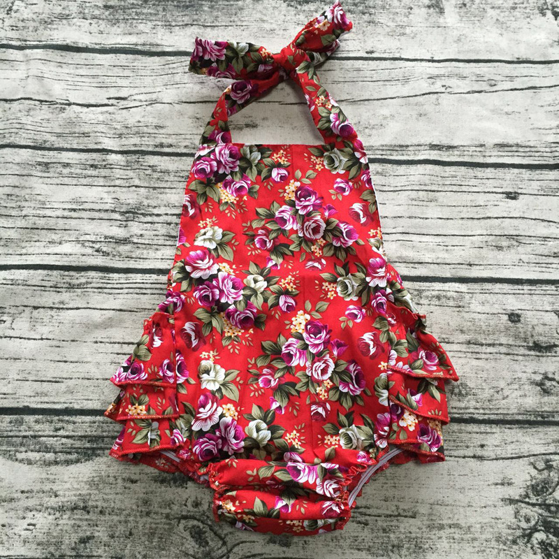 new 2017 baby boutique floral print romper jumpsuit girl bloomers cotton ruffle Romper baby girls clothes matched with headband childrendlor baby brocade floral print