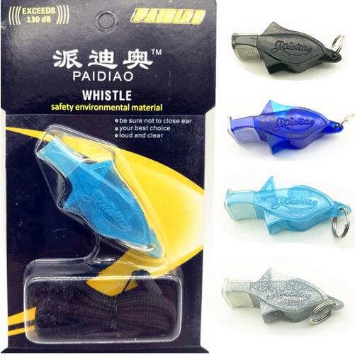 100pcs/lot PAIDIAO Dolfin Whistle  With Lanyard Soccer Football Basketball Hockey Sports Whistle