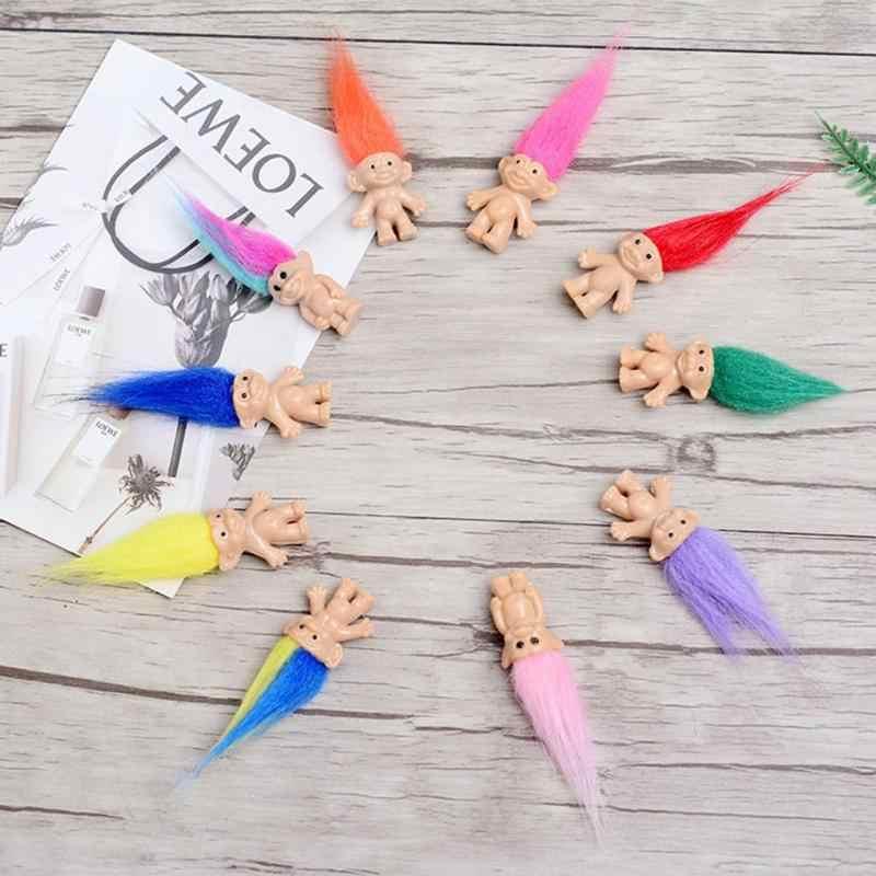 5 pçs/set Caráter Troll Boneca Figura Brinquedos de Plástico Magia de Fadas Do Vintage Longas Cores Cabelo Grande Diabo Dolls Para o Jogo Miúdo brinquedos Aleatório