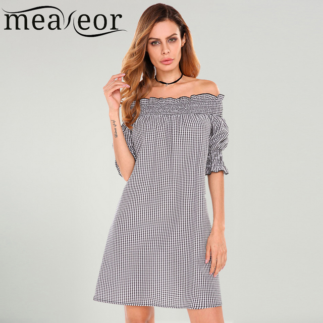2c91304e6fdd Meaneor Women Check Cold Off Shoulder Plaid Dress Slash Neck Sexy Puff 3 4  Sleeve Short Strapless Shirring On Cuffs Vestidos