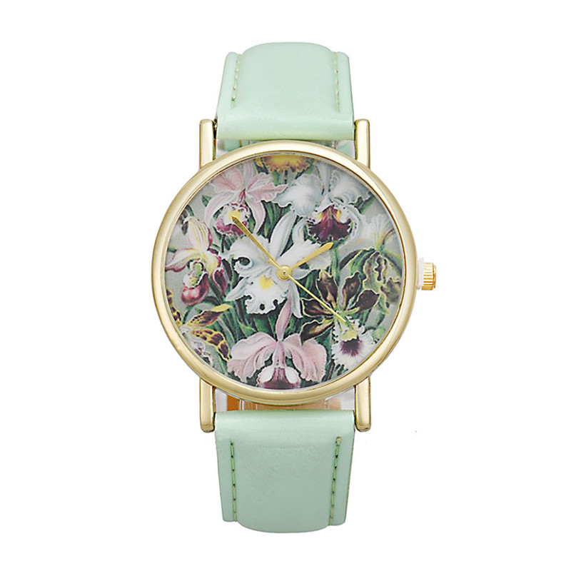 CLAUDIA Hot 2017 Fashion Vosoicar New Arrival Flowers Women Lady PU Leather Band Analog Quartz Dial Wrist Watch Women Wholesale new fashion women retro digital dial leather band quartz analog wrist watch watches wholesale 7055
